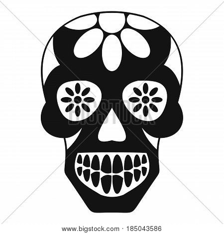Sugar skull, flowers on the skull icon in simple style isolated vector illustration