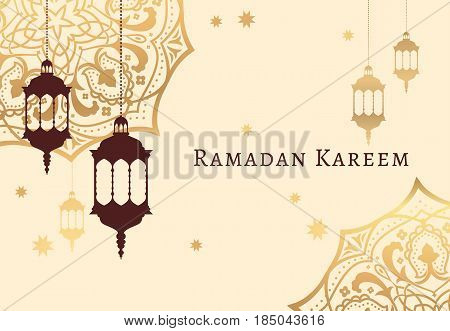 Ramadan Kareem Celebrate Greeting Card Or Illustration With Paper Cutting Style With Arabic Design P