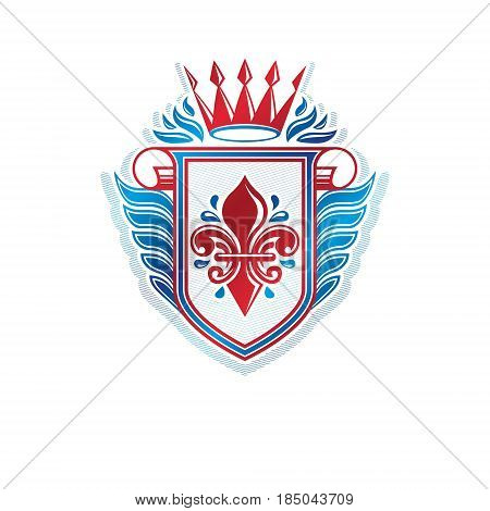 Heraldic coat of arms decorative emblem with lily flower and cartouche eco product quality. Winged protection shield emblem created with imperial crown isolated vector illustration.