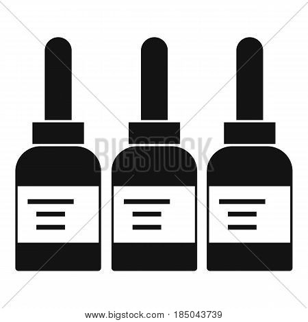 Three tattoo ink bottles icon in simple style isolated vector illustration