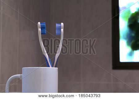 Two Colourful tooth brushes on the bathroom