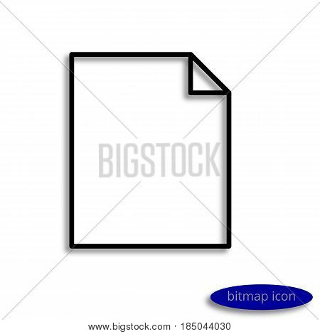 A Blank Sheet Of Paper With A Curved Corner Casting A Shadow, A Graphic Bitmap Linear Icon