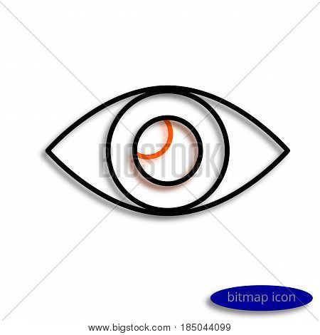 Eye Drawn By Lines Casting Shadow, Graphic Bitmap Linear Icon