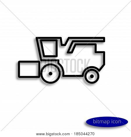 A Simple Raster Linear Image Of A Harvesting Combine Harvester Casting A Shadow, A Linear Icon For A