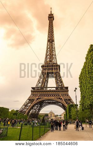 PARIS FRANCE - MAY 07 2015: View from park at famous Tour Eiffel in Paris France