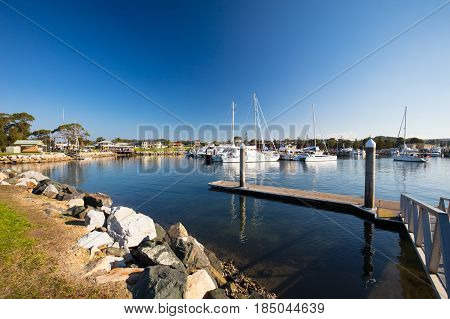 Bermagui Wharf on the Bermagui River in Bega Shire, New South Wales, Australia