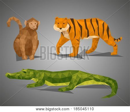 Low poly animal tropic compilation. Vector illustration set in polygonal style. Monkey tiger and crocodile on gray background.