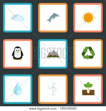 Flat Playful Fish, Conservation, Sunshine And Other Vector Elements. Set Of Nature Flat Symbols Also Includes Conservation, Overcast, Playful Objects.