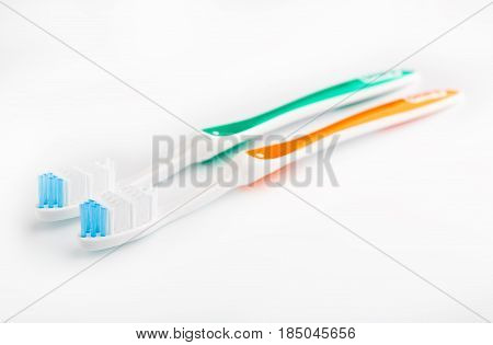 Toothbrush Isolated On White. Personal Hygiene. A Healthy Mouth. Bathroom Amenities. Accessories