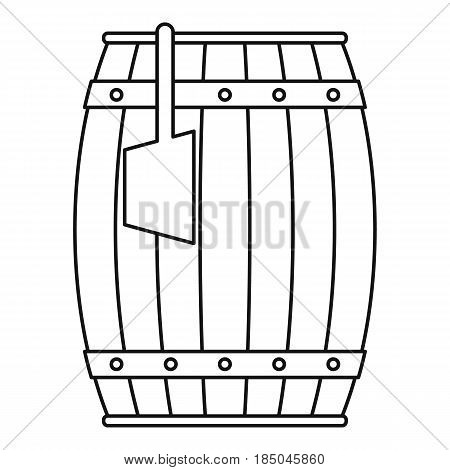 Wooden barrel with ladle icon in outline style isolated vector illustration