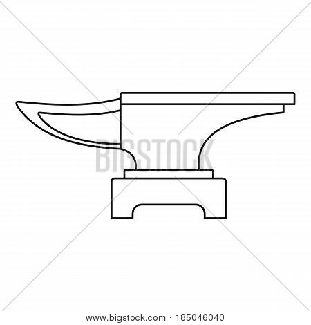 Heavy black metal anvil icon in outline style isolated vector illustration