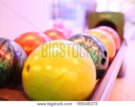 Row of bowling balls