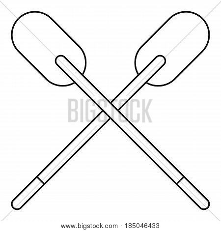 Two wooden crossed oars icon in outline style isolated vector illustration