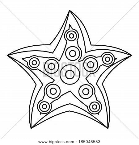 Starfish icon in outline style isolated vector illustration