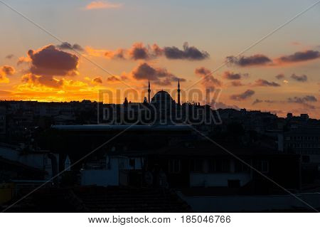 Panoramic view of european part of Istanbul on sunset Turkey