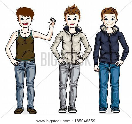 Cute Little Boys Children Standing Wearing Fashionable Casual Clothes. Vector Kids Illustrations Set