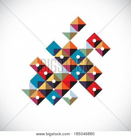 Vector Abstract Art Symbol Made With Squares, Modern Style Graphic Element. Asymmetric Figure, Creat