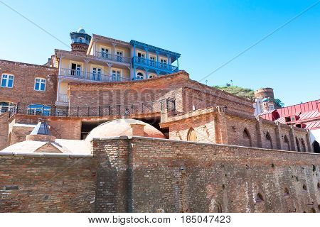Sulphur baths and houses with traditional balconies of Old Town of Tbilisi, Republic of Georgia