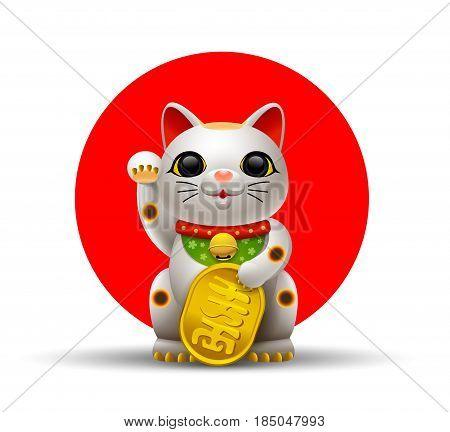 Japan cat Maneki Neko cat vector illustration