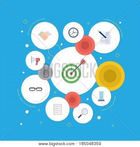Flat Task List, Contract, Office And Other Vector Elements. Set Of Employment Flat Symbols Also Includes Spectacles, Watch, Clock Objects.