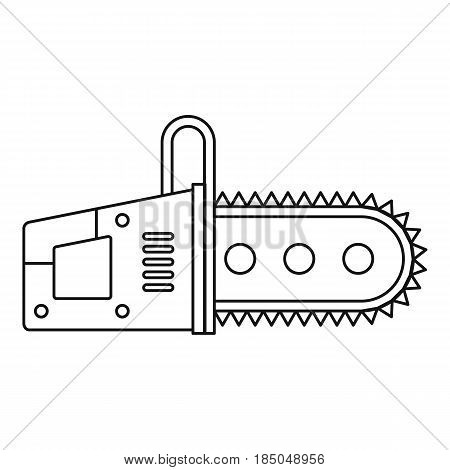 Chainsaw icon in outline style isolated vector illustration
