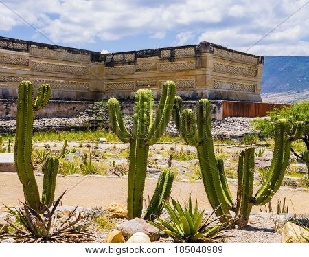 Stunning view of archaeological site of Mitla, Oaxaca, Mexico