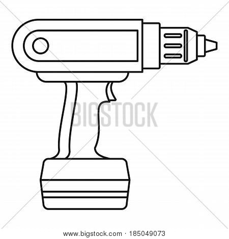 Electric screwdriver drill icon in outline style isolated vector illustration