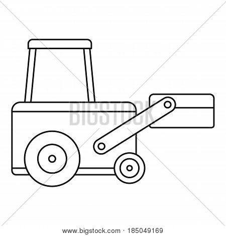 Truck to lift cargo icon in outline style isolated vector illustration
