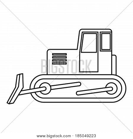 Bulldozer icon in outline style isolated vector illustration