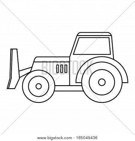 Skid steer loader bulldozer icon in outline style isolated vector illustration