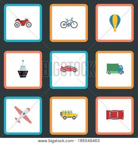 Flat Automotive, Aircraft, Airship And Other Vector Elements. Set Of Vehicle Flat Symbols Also Includes Bicycle, Cycle, Sport Objects.