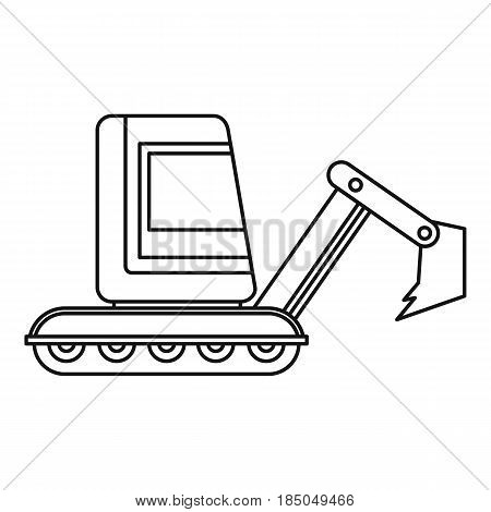 Mini excavator icon in outline style isolated vector illustration