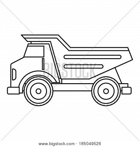 Dump truck icon in outline style isolated vector illustration