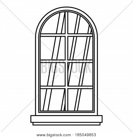 Arched window icon in outline style isolated vector illustration