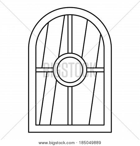 White arched window icon in outline style isolated vector illustration