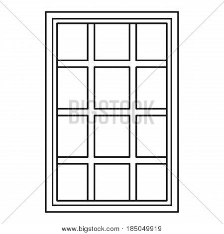 White latticed rectangle window icon in outline style isolated vector illustration