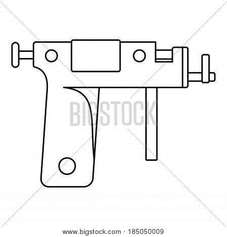 Piercing gun icon in outline style isolated vector illustration