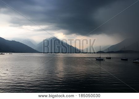 Lake Como in Italy dark and gloomy before a storm