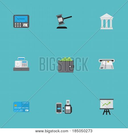 Flat Till, Billfold, Verdict And Other Vector Elements. Set Of Banking Flat Symbols Also Includes Courthouse, Till, Wallet Objects.