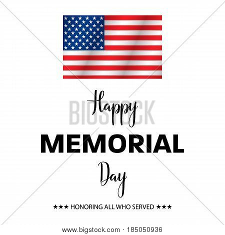 Honoring All Who Served, Happy Memorial Day, Vector Illustration