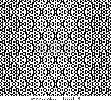 Vector monochrome texture, black & white hexagonal geometric seamless pattern. Stylish abstract background with different sized hexagons, symmetric structure. Design element for decor, textile, print