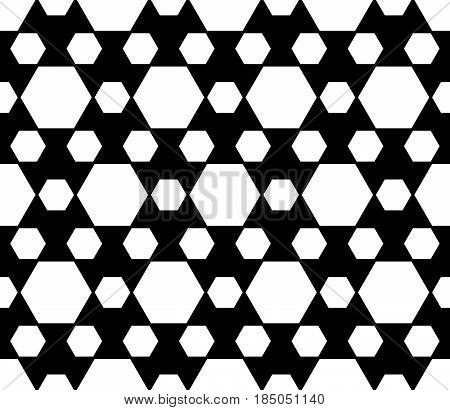 Monochrome seamless pattern, vector abstract endless black & white geometric background. Simple modern pattern with different sized hexagons. Repeat tiles. Design for decoration, textile, furniture