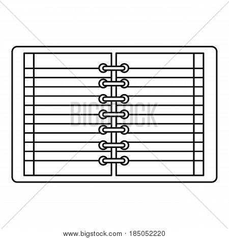 Open spiral lined notebook icon in outline style isolated vector illustration