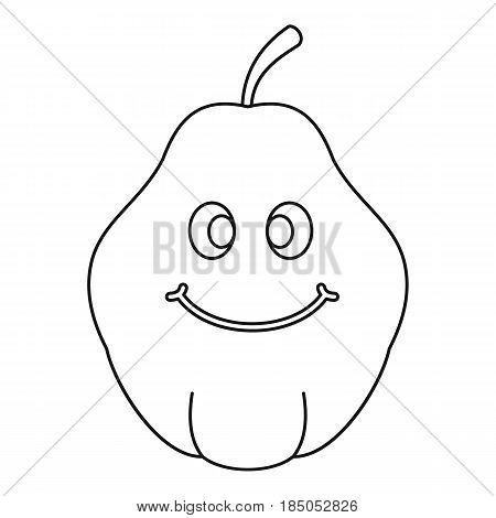 Smiling quince fruit icon in outline style isolated vector illustration