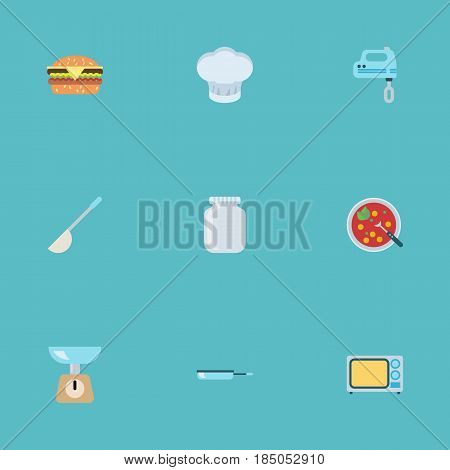 Flat Glass Container, Broth, Skillet And Other Vector Elements. Set Of Food Flat Symbols Also Includes Can, Broth, Microwave Objects.