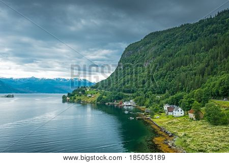 summer Hardangerfjord fjord landscape of south norway