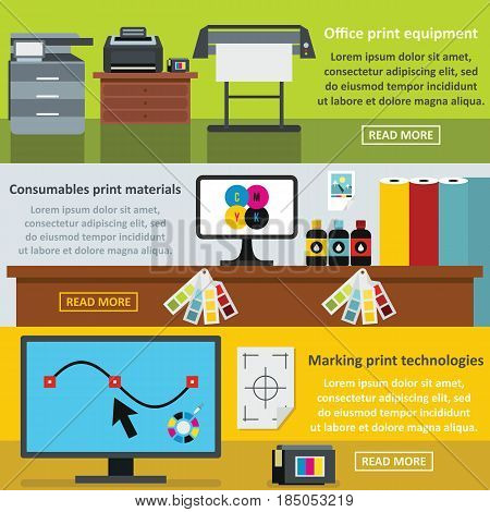 Printing process banner horizontal concept set. Flat illustration of 3 printing process vector banner horizontal concepts for web