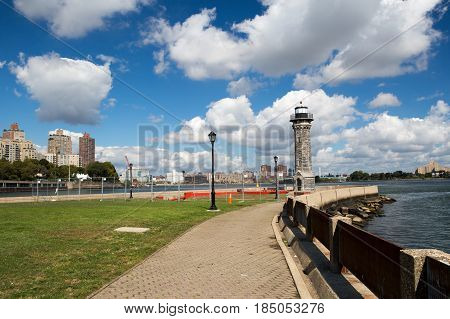 Park with lighthouse in Roosevelt island, Manhattan, New York