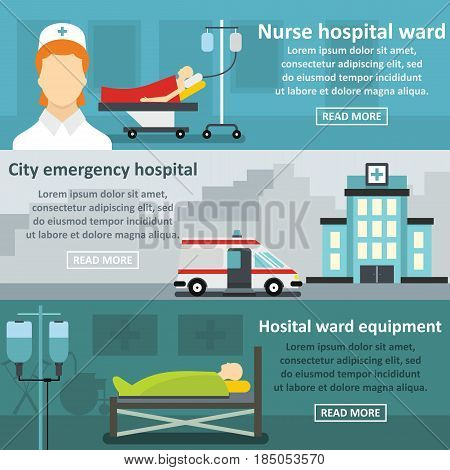 Hospital care banner horizontal concept set. Flat illustration of 3 hospital care vector banner horizontal concepts for web