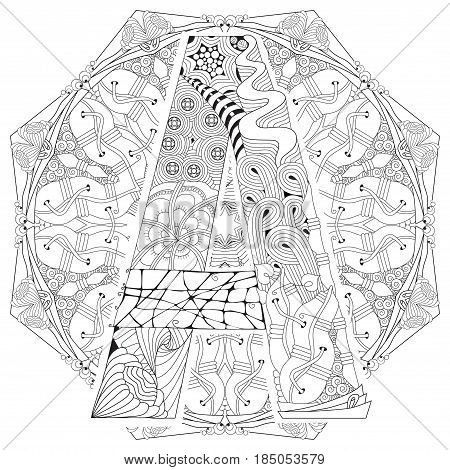 Hand-painted art design. Adult anti-stress coloring page. Black and white hand drawn illustration mandala with letter A for coloring book
